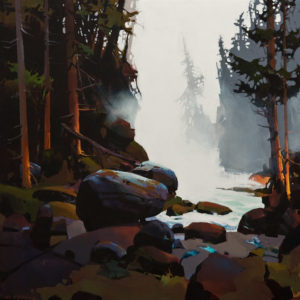"""SOLD """"West Coast Wonder,"""" by Michael O'Toole 30 x 30 – acrylic $3640 (thick canvas wrap without frame)"""