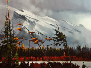 "SOLD ""Westerly Winds at Mt. Rundle,"" by Michael O'Toole 36 x 48 – acrylic $6420 Unframed"
