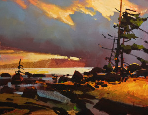 "SOLD ""West Winds, Georgia Strait,"" by Michael O'Toole 14 x 18 – acrylic $1200 Unframed"