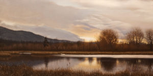 "SOLD ""Wetlands at Dusk,"" by Ray Ward 12 x 24 – oil $1650 Unframed"