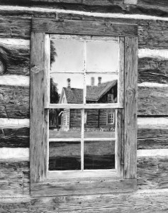 """SOLD """"Window to the Past,"""" by Jim Nedelak 10 1/2 x 13 3/4 - charcoal drawing $2650 Framed"""