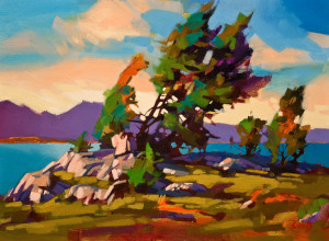 """SOLD """"Wind Swept Pines,"""" by Mike Svob 12 x 16 – acrylic $1345 Unframed"""