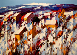 """Winter Retreat,"" by Christian Bergeron 30x42 - acrylic $2830 Unframed"