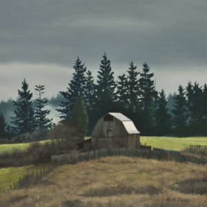 """Winter Farm,"" by Keith Hiscock 12 x 12 - oil $975 Unframed $1370 Custom framed"
