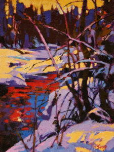 """SOLD """"Winter Forest Pattern,"""" by Mike Svob 12 x 16 – acrylic $1345 Unframed"""