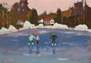 "SOLD ""Winter Pink"" by Paul Healey 5 x 7 - acrylic $250 Unframed $425 in show frame"