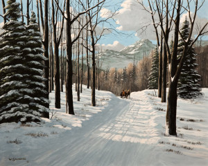 "SOLD ""A Winter Ride,"" by Bill Saunders 16 x 20 – acrylic $1900 Unframed"