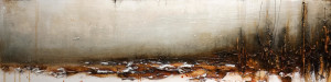 "SOLD ""Winter's Calm,"" by Laura Harris 12 x 48 – acrylic $2410 (unframed panel with 1 1/2"" edging)"
