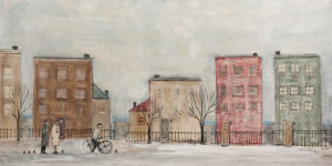 "SOLD ""Rue de l'Hiver (Winter Street),"" by Louise Lauzon 18 x 36 – acrylic $1100 Unframed"