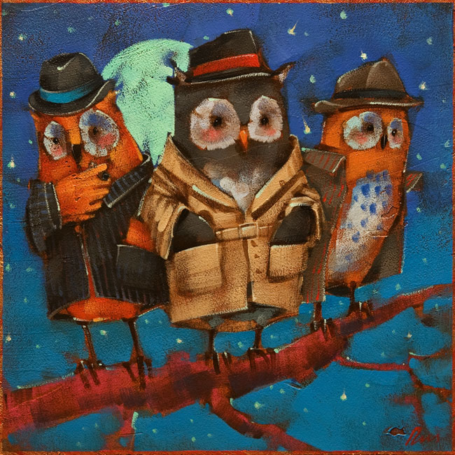 "SOLD ""Wise Guys"" by Angie Rees 8 x 8 - acrylic $375 (unframed panel with 1 1/2"" edging)"