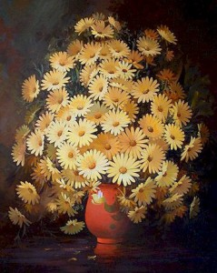 """SOLD """"Yellow Daisies"""" by Victor Santos 24 x 30 – oil $4530 Framed"""