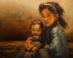 """Young Child with Baby,"" by Donna Zhang 24 x 30 - oil $6225 Custom framed"