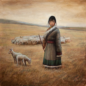 """The Young Shepherdess,"" by Dongmin Lai 12 x 12 - oil $1460 Framed"