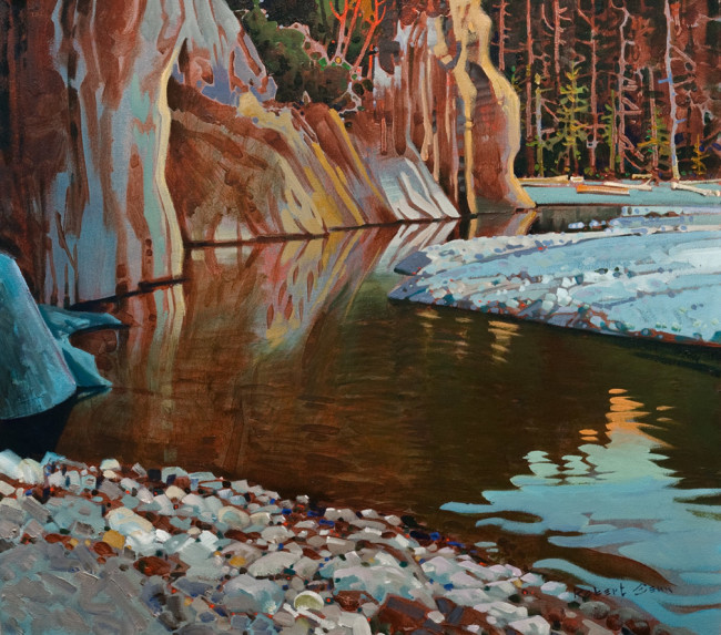 "SOLD ""Along the Campbell River"" 30 x 34 - acrylic $19,000 in show frame ($18,500 in standard frame) $18,000 Unframed"