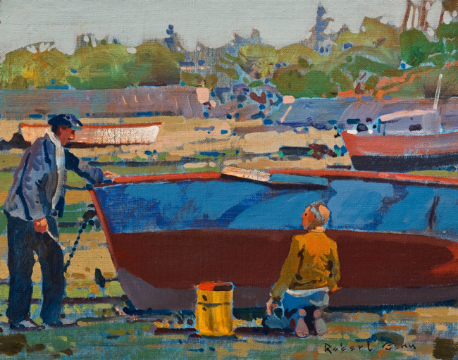 """SOLD """"Boat Repair, Pont Aven, Brittany"""" 11 x 14 - acrylic $3740 in show frame ($3525 in standard frame) $3300 Unframed"""