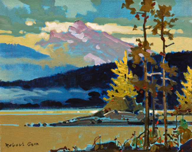 "SOLD ""Counterpoint with Larches"" 11 x 14 - acrylic $3740 in show frame ($3525 in standard frame) $3300 Unframed"