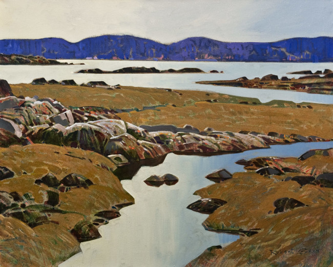 "SOLD ""Edge Pattern, Desolation Sound"" 24 x 30 - acrylic $13,150 in show frame ($12,430 in standard frame) $12,000 Unframed"