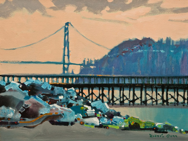"""SOLD """"The Lions Gate From Ambleside"""" 12 x 16 - acrylic $4360 in show frame ($4135 in standard frame) $3900 Unframed"""