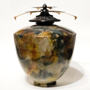 """SOLD Vase (168) by Geoff Searle pit-fired pottery – 14 1/2"""" (H) x 10 1/2"""" (W) $950"""