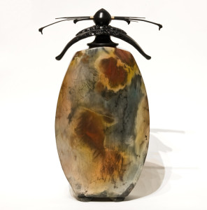 """SOLD Vase (170) by Geoff Searle pit-fired pottery – 14"""" (H) $650"""