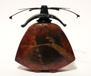 """SOLD Vase (173) by Geoff Searle pit-fired pottery – 9"""" (H) $525"""