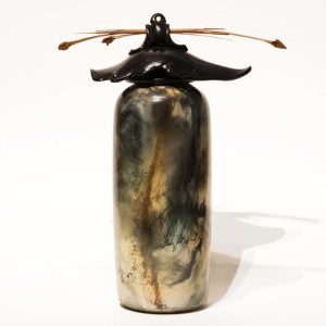 """SOLD Vase (174) by Geoff Searle pit-fired pottery – 11 1/2"""" (H) $475"""