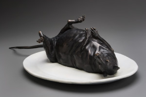 """Another Satisfied Customer at Joe's Diner,"" by Nicola Prinsen Bronze - 5"" height x 20"" length incl. tail Edition of 15 $4500"