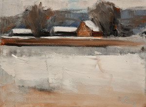 "SOLD ""Apres La Neige"" (After the Snowfall) by Robert P. Roy 9 x 12 - oil $425 Unframed $700 in show frame"