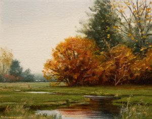"SOLD ""Autumn Grove"" by Renato Muccillo 3 3/8 x 4 3/8 - oil $900 in show frame"