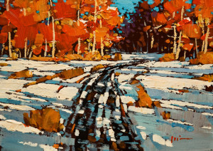 "SOLD ""Autumn Snow"" by Min Ma 5 x 7 - acrylic $520 Unframed $660 in show frame"