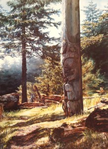 """Bear Pole,"" by Carol Evans 19 ½ x 27"