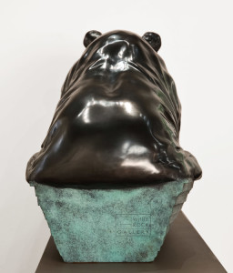"SOLD OUT ""Big Bear, Little Boat,"" by Nicola Prinsen 46"" (L) x 21"" (H) x 15"" (W) - bronze Foundry Proof - $19,500 (Edition of 3)"