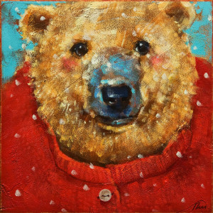 "SOLD ""Big Red"" by Angie Rees 8 x 8 - acrylic $375 (unframed panel with 1 1/2"" edging)"