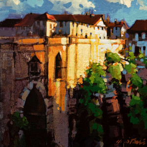 "SOLD ""The Bridge, Ronda, Spain"" by Michael O'Toole 10 x 10 - acrylic $640 Unframed $900 in show frame"