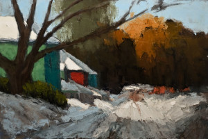 "SOLD ""Chemin Prive,"" by Robert P. Roy (Private Driveway) 24 x 36 – oil $1400 Unframed"