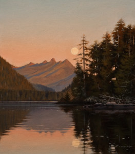 "SOLD ""Clayoquot Moon"" by Ray Ward 7 x 8 - oil $620 Unframed $815 in show frame"