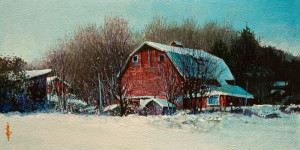 "SOLD ""Crisp Winter Day"" by Alan Wylie 6 x 12 - acrylic $1250 Unframed $1450 in show frame"