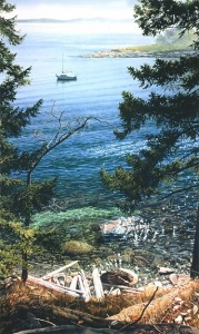 """DeCourcy Island,"" by Carol Evans 19 1/2 x 32 3/4 - Giclée on paper (edition size of 195) - $495 Unframed 25 x 42 - Giclée on canvas (edition size of 50) - $875 Unframed"