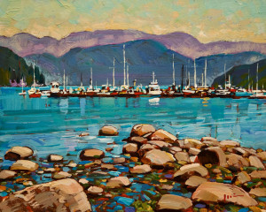 "SOLD ""Deep Cove"" by Min Ma 8 x 10 - acrylic $770 Unframed $950 in show frame"