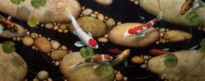 """Dividing Stones"" 20 x 50 - Giclée print on canvas Artist's Proof - $1495 Unframed"