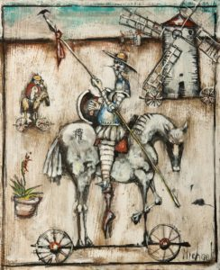 "SOLD ""Don Quixote,"" by Michael Hermesh 9 x 11 - acrylic $950 Unframed $1200 Custom framed"