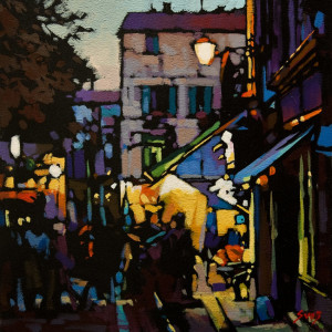 "SOLD ""Dusk in Arles"" by Mike Svob 12 x 12 - acrylic $975 Unframed $1185 in show frame"