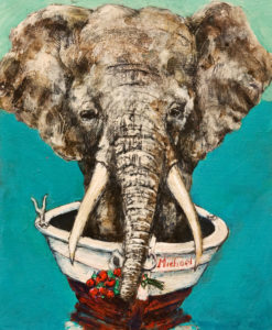 """Elephant Race,"" by Michael Hermesh 9 1/2 x 11 1/2 - acrylic $950 Unframed"