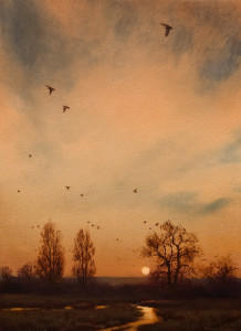 "SOLD ""Evening Migration - Study"" by Renato Muccillo 8 x 11 - oil $1760 in show frame"