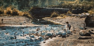 "PUBLISHER SOLD OUT, but Gallery may still have in stock at issue price ""Feeding the Swans,"" by Carol Evans 11 x 22 - Giclée print Edition is signed by artist and limited to number of 150 $395 Unframed"