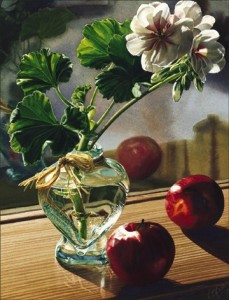"""Geraniums and Apples,"" by Carol Evans 12 3/4 x 16 - lithograph on paper (edition size of 350) $175 Unframed"