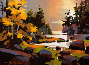 "SOLD ""Golden Hour, Sandy Cove"" by Michael O'Toole 9 x 12 - acrylic $660 Unframed $925 in show frame"