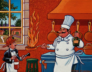 "SOLD ""Haute Cuisine - Flambé"" by Michael Stockdale 8 x 10 - acrylic $390 Unframed $480 in show frame"