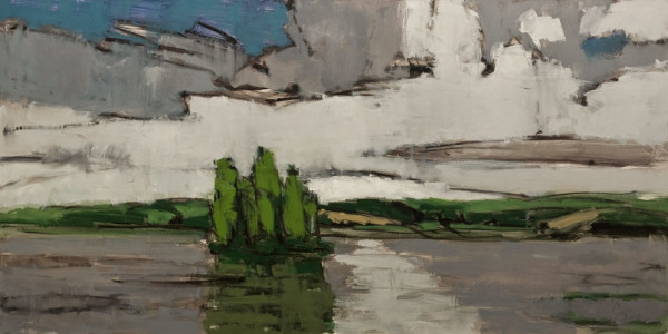 """Ile Verte,"" by Robert P. Roy (Green Island) 30 x 60 - oil $2950 (thick canvas wrap without frame)"