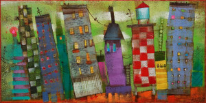 "SOLD ""Itty Bitty City: Limeade Sky"" by Angie Rees 6 x 12 - acrylic $400 (unframed panel with 1 1/2"" edging)"